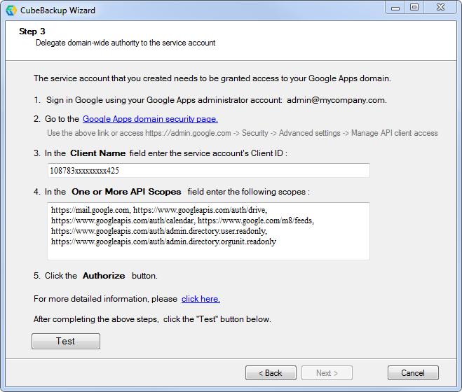 CubeBackup Configuration - Backup GSuite data locally